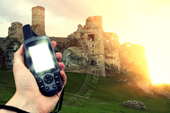 GPS tenuto in mano Fotografia Stock Libera da Diritti