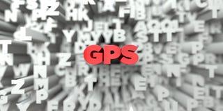 GPS - Texto rojo en fondo de la tipografía - 3D rindió imagen común libre de los derechos Fotografía de archivo libre de regalías