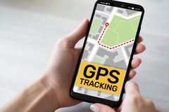 GPS tracking map on smartphone screen. Global positioning system, navigation concept. stock images