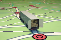 GPS tracking and shipment. 3D Rendering Royalty Free Stock Image