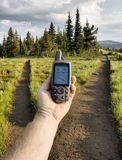 GPS at Trail Junction Royalty Free Stock Photography
