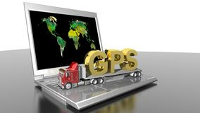 GPS on truck and informatics. GPS written in golden letters on a truck, upon a laptop PC Stock Photos