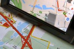 GPS und Karte Stockbild