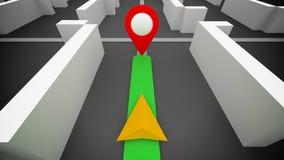 Gps van de routenavigatie en bestemming teken Stock Fotografie