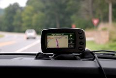 GPS on vehicle dashboard Royalty Free Stock Image