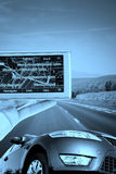 GPS Vehicle navigation system in a man hand. Stock Photo