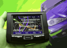 GPS Vehicle navigation system in a man hand. Stock Photos