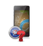Gps vs compass concept illustration Stock Images