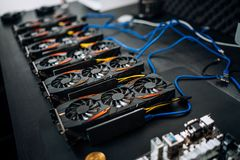Free Gpu Cards Preparing To Mine Cryptocurrency, Devices On Mining Rig. Bitcoin. Royalty Free Stock Photos - 114221738