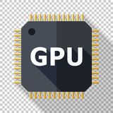GPU icon in flat style on transparent background. GPU icon in flat style with long shadow on transparent background royalty free illustration