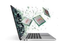GPU-Prozessorausgang durch einen Monitor des Laptopschirmes lokalisiert auf weißem Hintergrund Abbildung 3D Lizenzfreie Stockfotografie