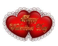 Gráfico 3D de los corazones de la tarjeta del día de San Valentín ilustración del vector