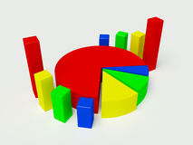 gráfico 3d en diversos colores en un fondo blanco Fotografía de archivo libre de regalías