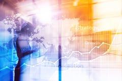 Gráfico abstracto, carta y diagrama de la exposición doble del fondo del negocio Mapa mundial y Negocio global y comercio financi ilustración del vector