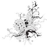 Gráfico abstracto del vector con las flores Imagenes de archivo