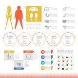 Gráfico ajustado da informação do ícone do corpo magro grosso Imagens de Stock Royalty Free