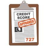 Gráfico aprovado da pontuação de crédito ilustração do vetor