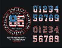 Gráfico atlético do t-shirt da liberdade do Estados Unidos da divisão, imagem do vetor ilustração do vetor