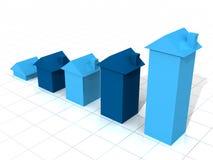 Gráfico azul de la casa 3D Fotografía de archivo libre de regalías