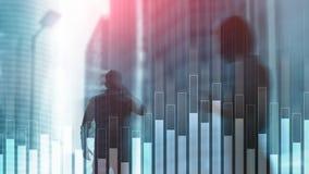 Gráfico azul do negócio e da finança no fundo borrado Conceito da troca, do investimento e da economia fotografia de stock