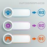 Gráfico blanco de la información con números, muestras e iconos en diversos colores con el texto Fotos de archivo