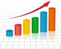 Gráfico cada vez mayor con la flecha Imagen de archivo