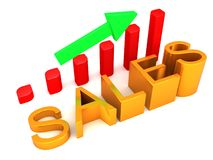 Gráfico cada vez mayor de las ventas stock de ilustración