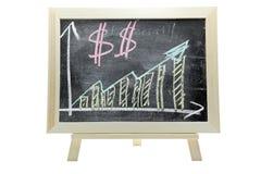Gráfico cada vez mayor del dinero del dólar Fotografía de archivo libre de regalías