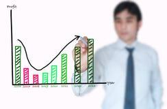 Gráfico cada vez mayor del gráfico del hombre de negocios Fotografía de archivo libre de regalías