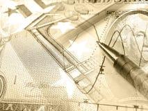Gráfico, calculadora y dinero, collage (sepia) imagenes de archivo