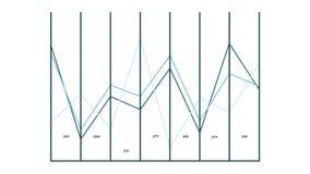Gráfico cartesiano animado dos dados coordenados ilustração stock
