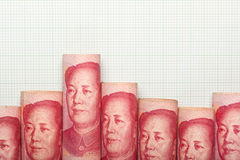 Gráfico chino de la tendencia bajista de la moneda Fotos de archivo libres de regalías