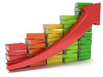 Gráfico coloreado de los libros con la flecha roja Imagen de archivo libre de regalías