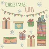 Gráfico colorido da caixa de presentes do Natal Mão desenhada Fotografia de Stock