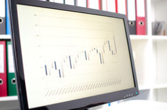 Gráfico común de los datos de intercambio en una pantalla Foto de archivo