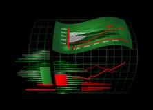 Gráfico com bandeira Imagens de Stock