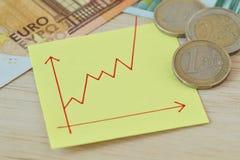 Gráfico con la línea ascendente en nota del papel, monedas euro y billetes de banco - concepto de valor cada vez mayor del dinero fotografía de archivo
