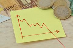 Gráfico con la línea descendente en nota del papel, monedas euro y billetes de banco - concepto de valor perdido del dinero imagenes de archivo