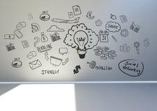 Gráfico conceptual na parede da sala 3D Fotografia de Stock