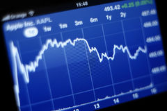 Gráfico conservado em estoque de Apple Inc no iPhone 4s Fotografia de Stock Royalty Free