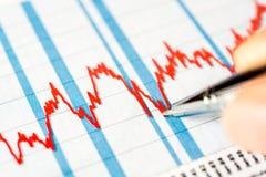Gráfico conservado em estoque, impacto de mercado de valores de ação Fotografia de Stock