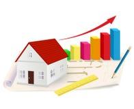 Gráfico crescente com casa, régua e lápis Imagem de Stock