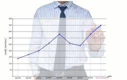 Gráfico crescente do desenho do homem de negócios Imagem de Stock Royalty Free