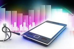 gráfico 3d com ícone à moda do homem em um telefone esperto Fotos de Stock Royalty Free