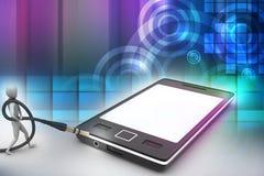 gráfico 3d com ícone à moda do homem em um telefone esperto Fotografia de Stock