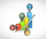 Gráfico da cor do negócio da moeda Imagens de Stock Royalty Free