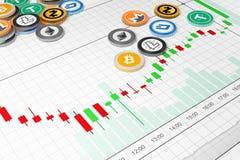 Gráfico da Cripto-moeda Fotos de Stock Royalty Free