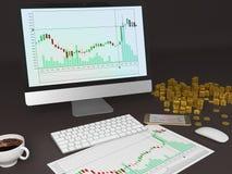 Gráfico da Cripto-moeda Foto de Stock Royalty Free