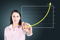 Gráfico da realização do desenho da mulher de negócio. imagem de stock royalty free