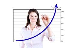 Gráfico da realização do desenho da mulher de negócio. Imagens de Stock Royalty Free